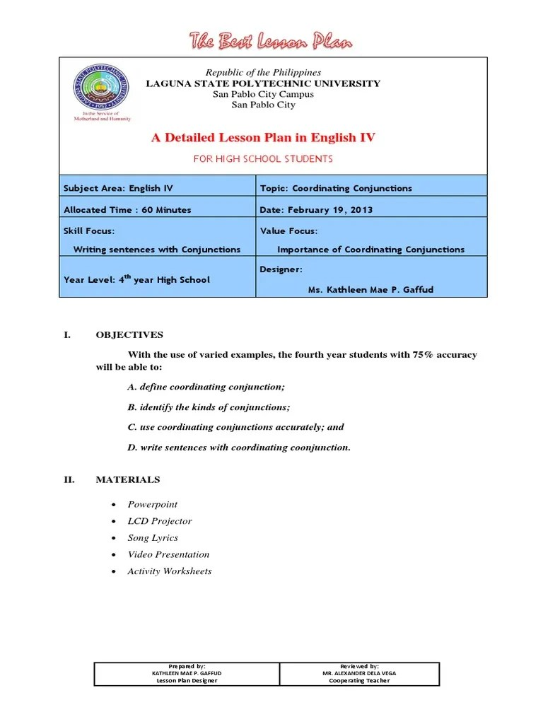 medium resolution of Lesson Plan coordinating conjunction.docx   Lesson Plan   Sentence  (Linguistics)